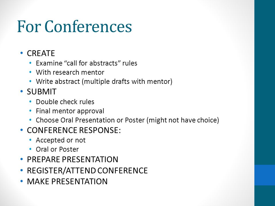 For Conferences CREATE SUBMIT CONFERENCE RESPONSE: