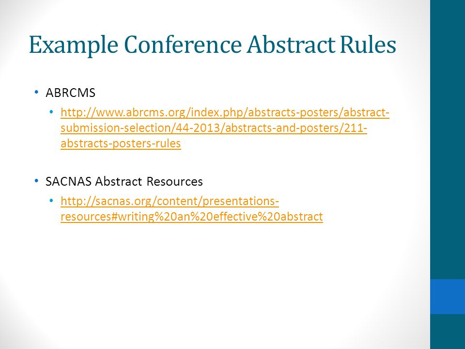 Example Conference Abstract Rules
