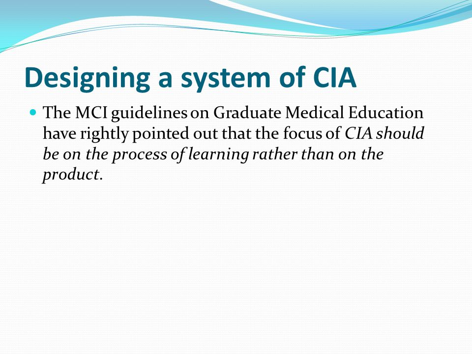 Designing a system of CIA