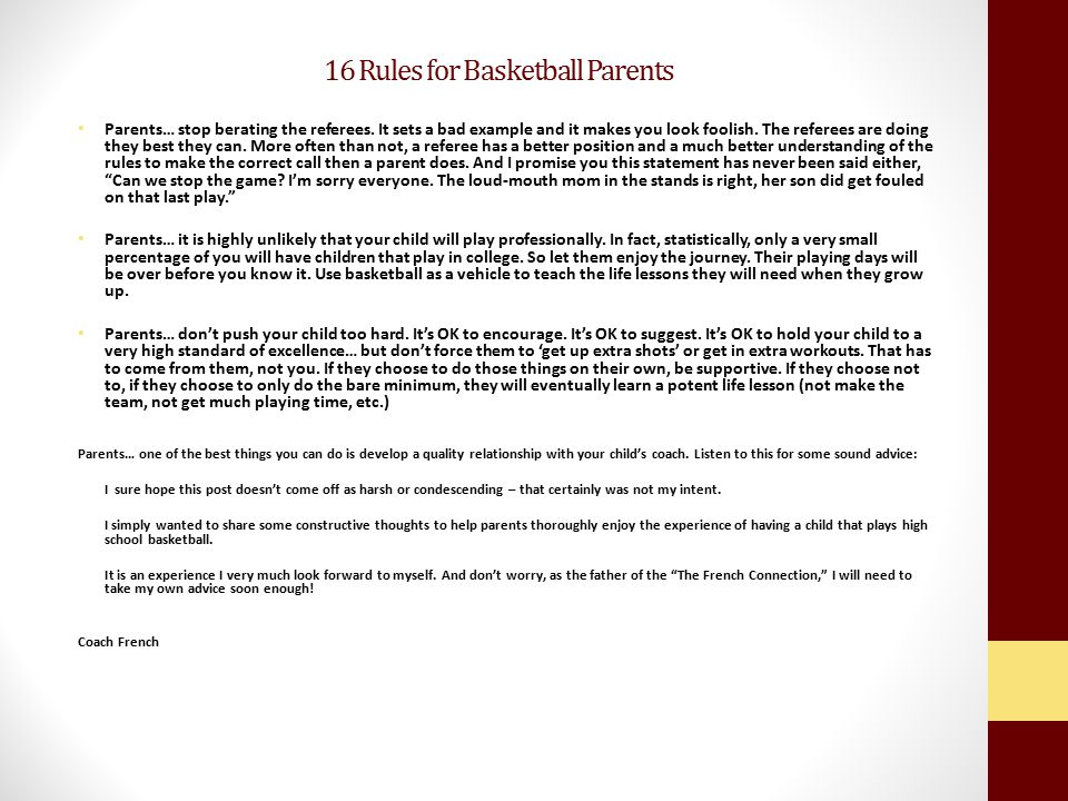 16 Rules for Basketball Parents
