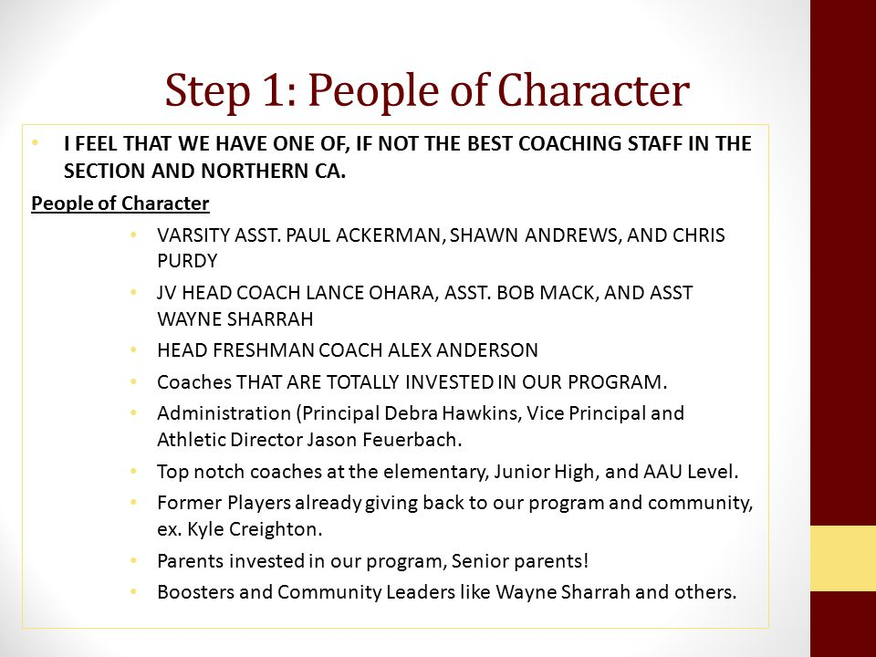 Step 1: People of Character