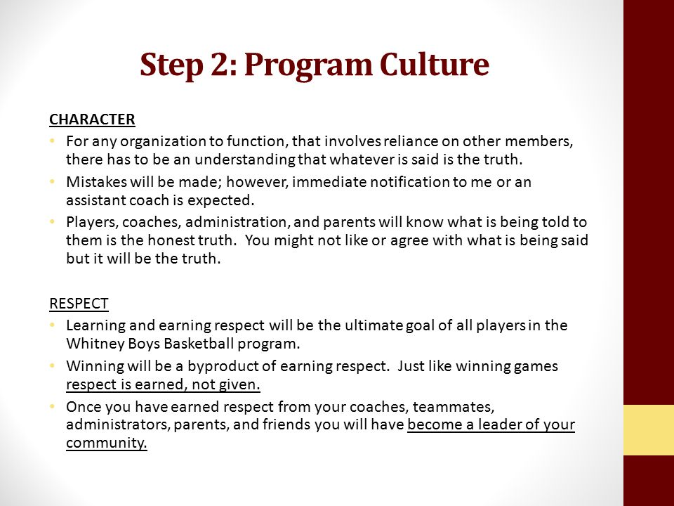 Step 2: Program Culture CHARACTER