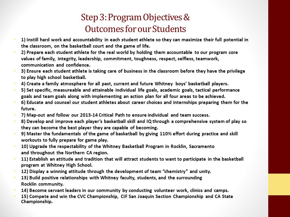 Step 3: Program Objectives & Outcomes for our Students