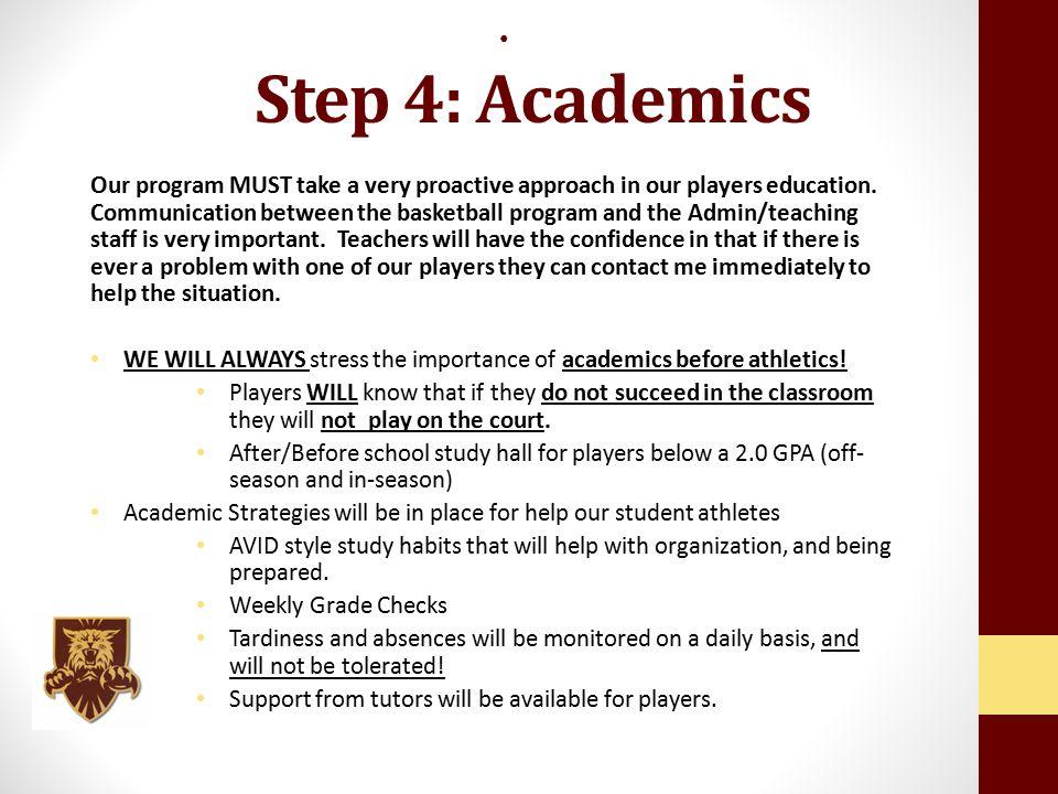 Step 4: Academics