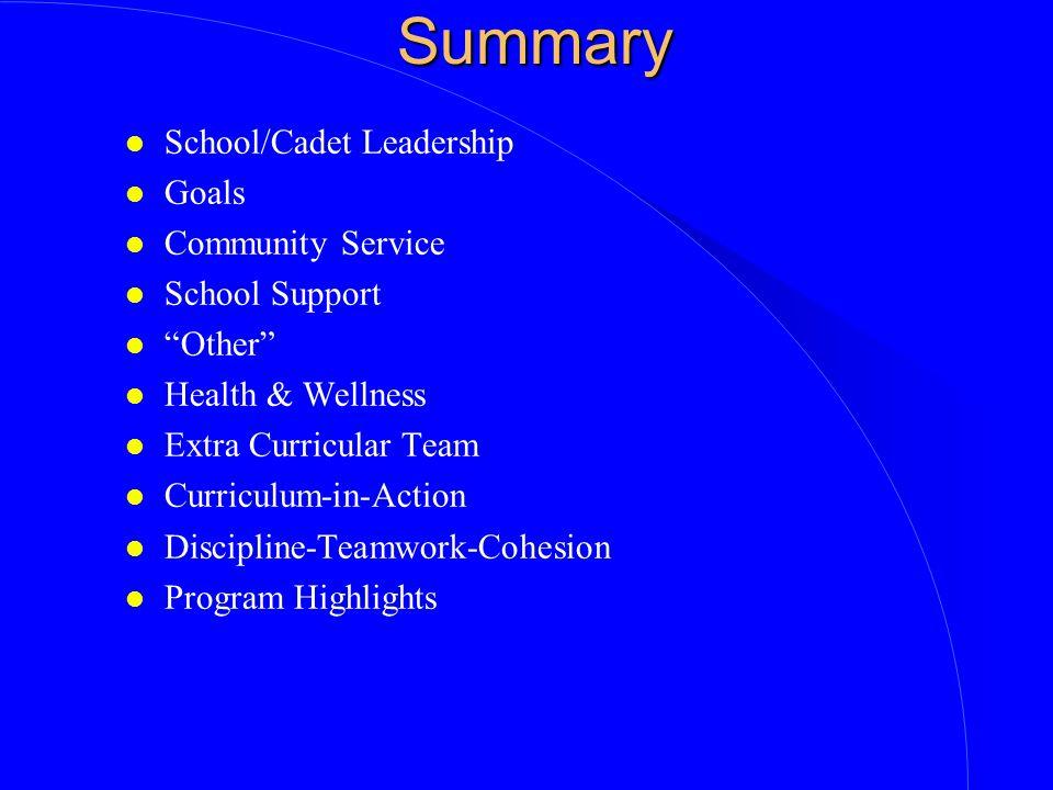 Summary School/Cadet Leadership Goals Community Service School Support