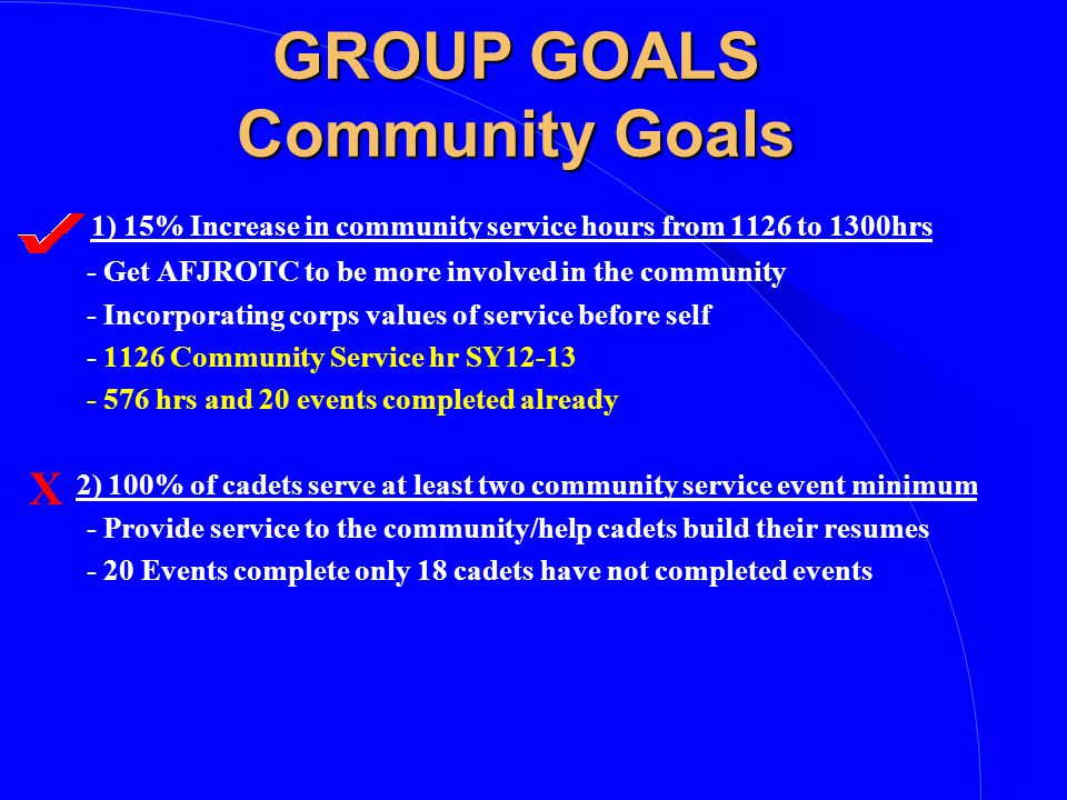 GROUP GOALS Community Goals