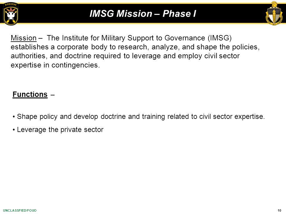IMSG Mission – Phase I