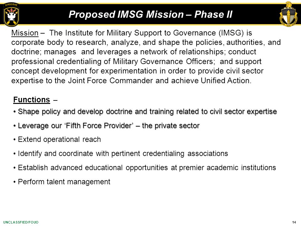 Proposed IMSG Mission – Phase II