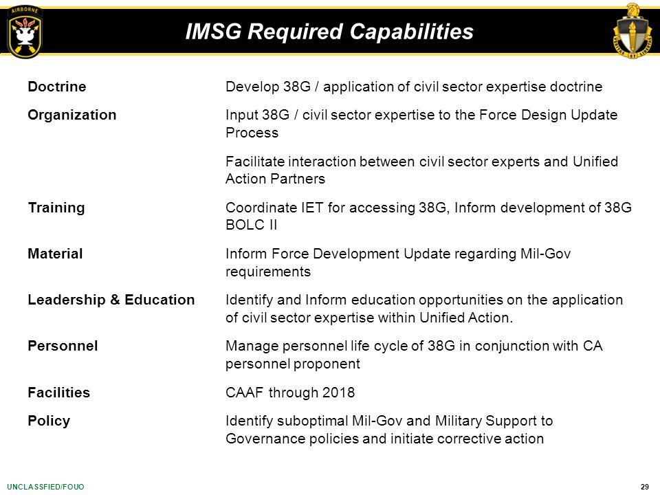 IMSG Required Capabilities