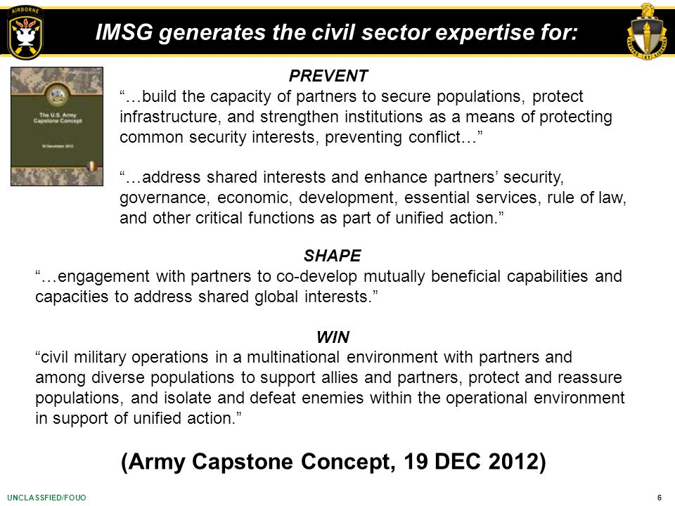 IMSG generates the civil sector expertise for: