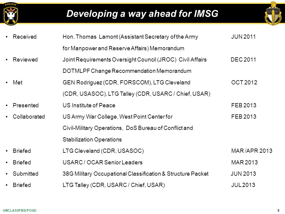Developing a way ahead for IMSG