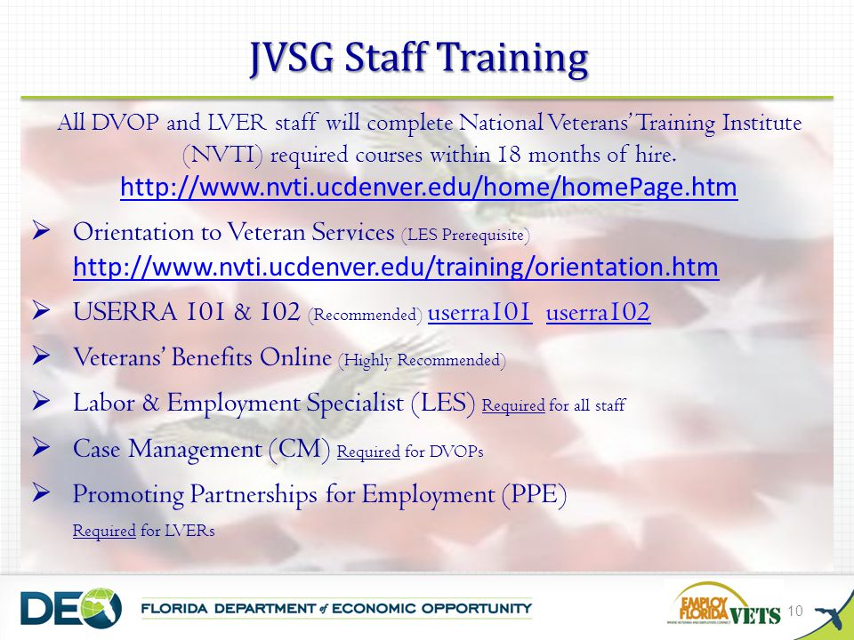 JVSG Staff Training Orientation to Veteran Services (LES Prerequisite)
