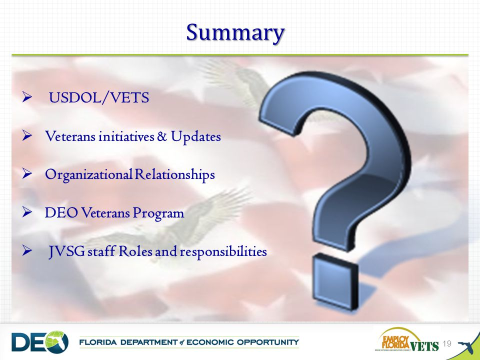 Summary USDOL/VETS Veterans initiatives & Updates