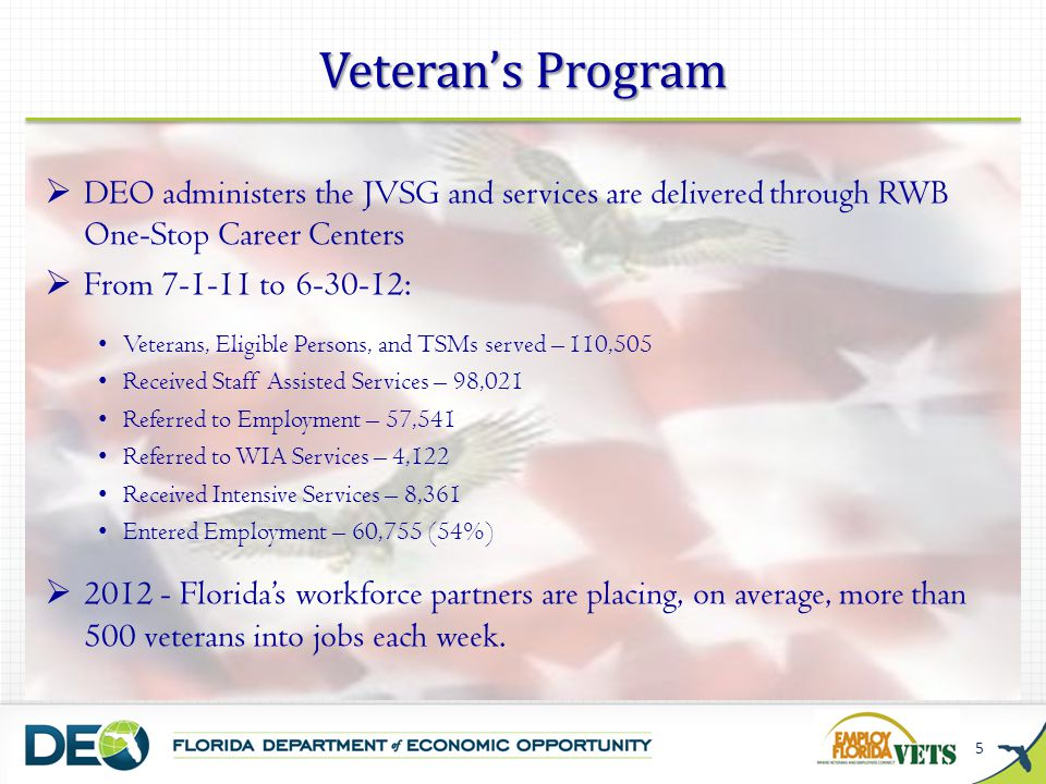 Veteran's Program DEO administers the JVSG and services are delivered through RWB One-Stop Career Centers.