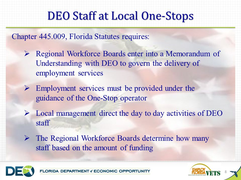 DEO Staff at Local One-Stops