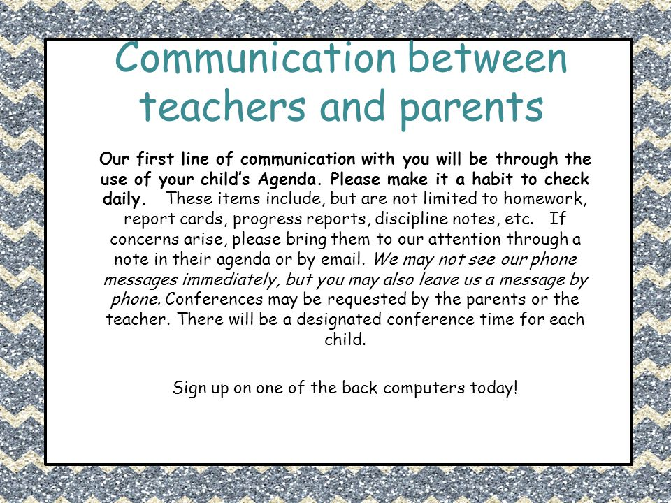 Communication between teachers and parents