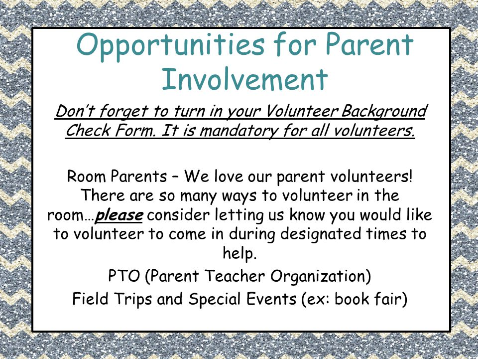 Opportunities for Parent Involvement