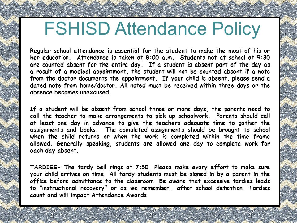 FSHISD Attendance Policy