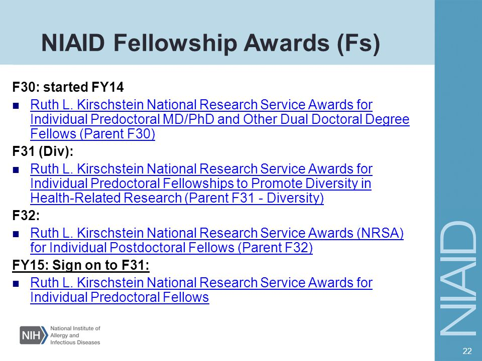 NIAID Fellowship Awards (Fs)