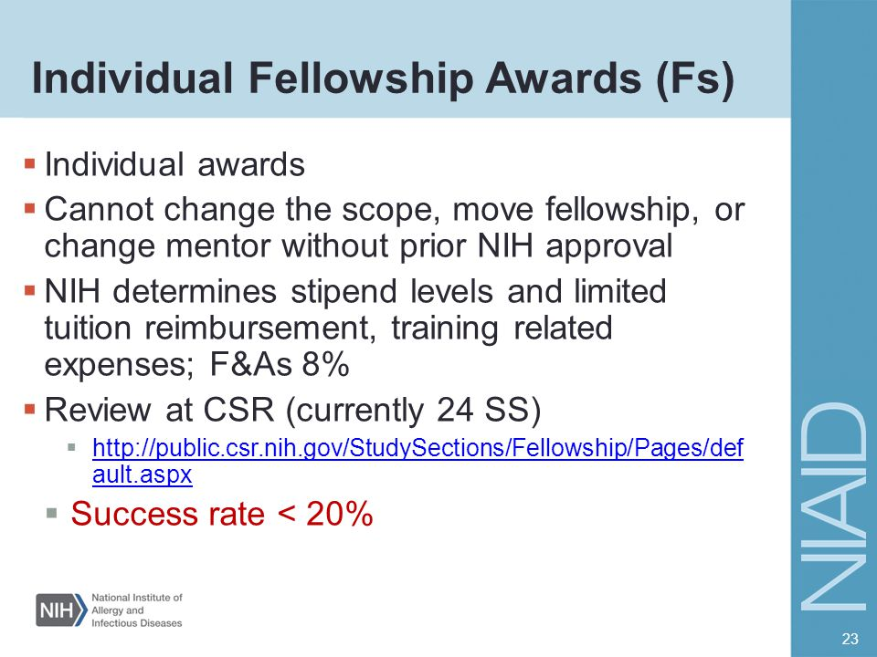 Individual Fellowship Awards (Fs)