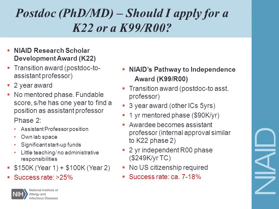 Postdoc (PhD/MD) – Should I apply for a K22 or a K99/R00