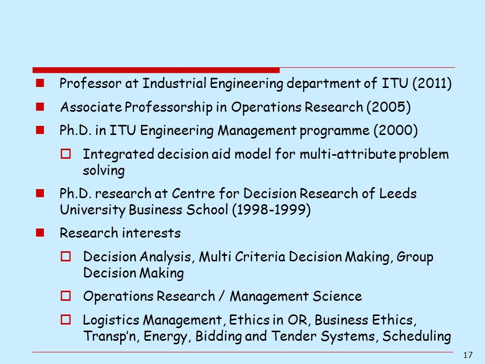 Professor at Industrial Engineering department of ITU (2011)