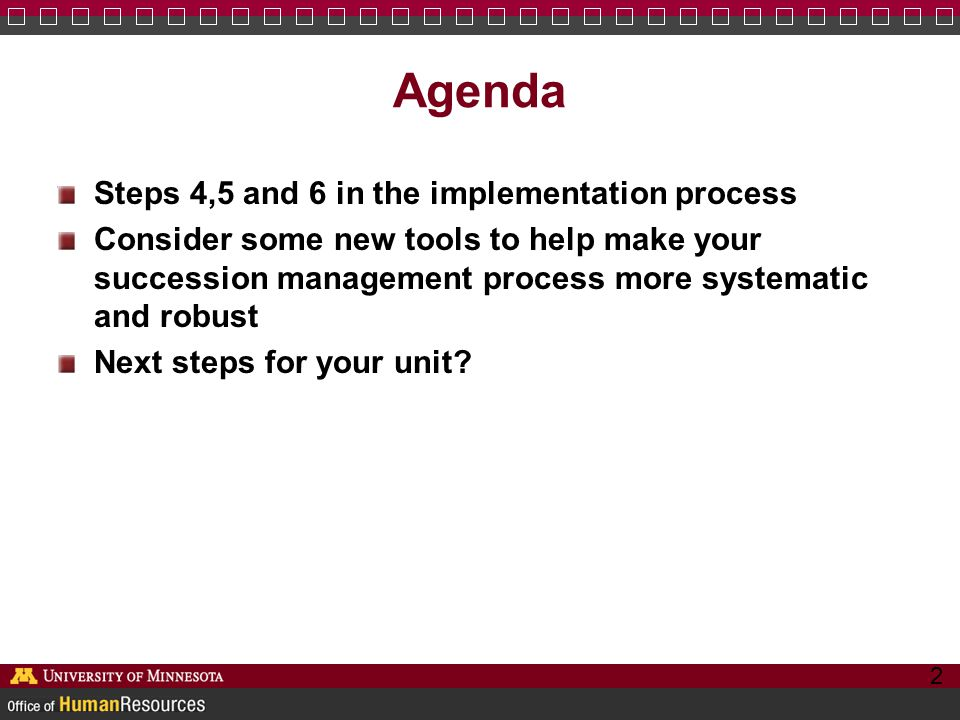 Agenda Steps 4,5 and 6 in the implementation process