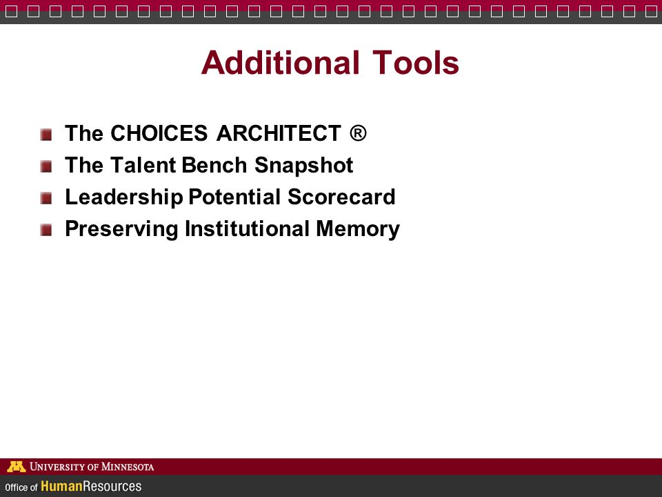 Additional Tools The CHOICES ARCHITECT ® The Talent Bench Snapshot