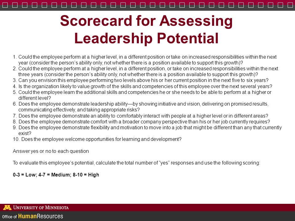 Scorecard for Assessing