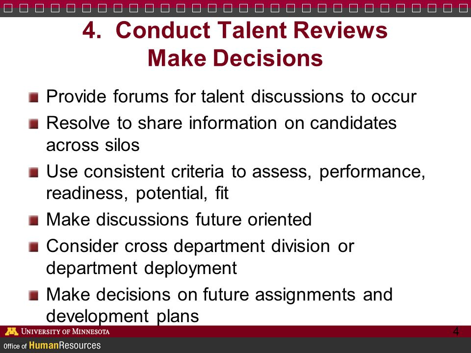 4. Conduct Talent Reviews Make Decisions