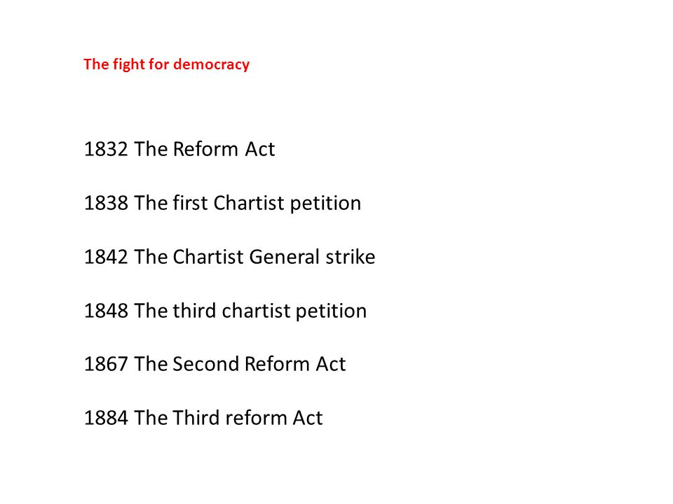 1838 The first Chartist petition 1842 The Chartist General strike