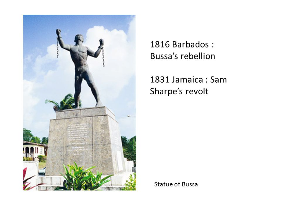 1816 Barbados : Bussa's rebellion