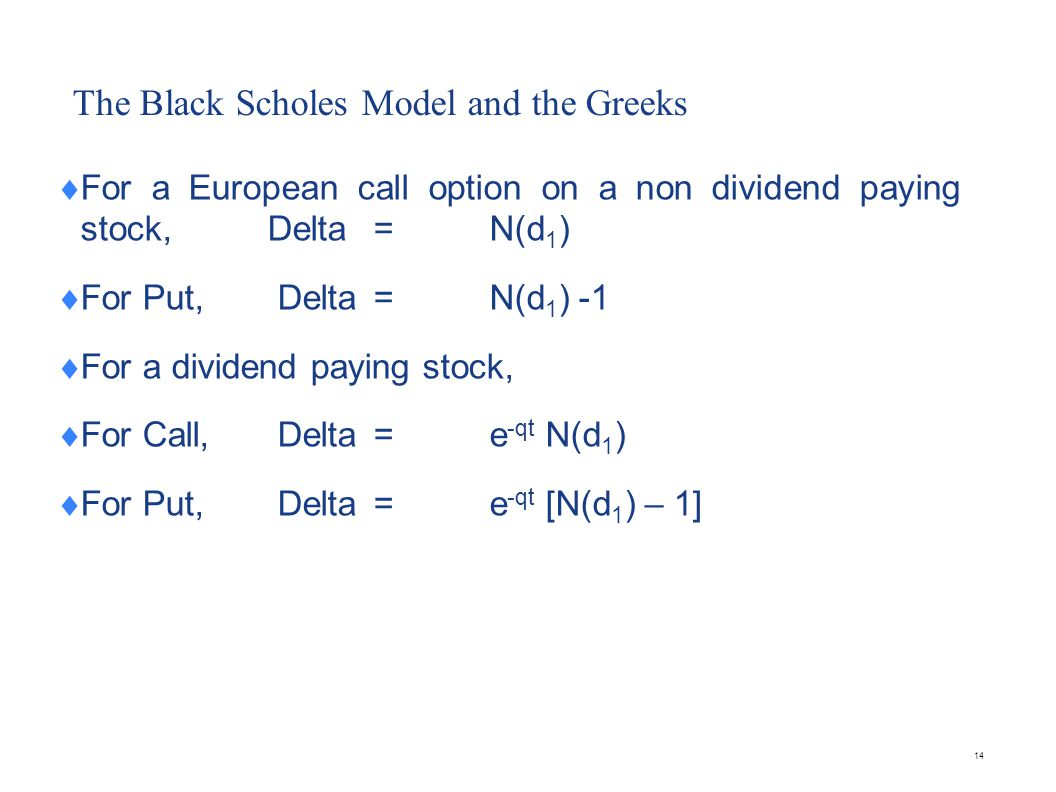 The Black Scholes Model and the Greeks