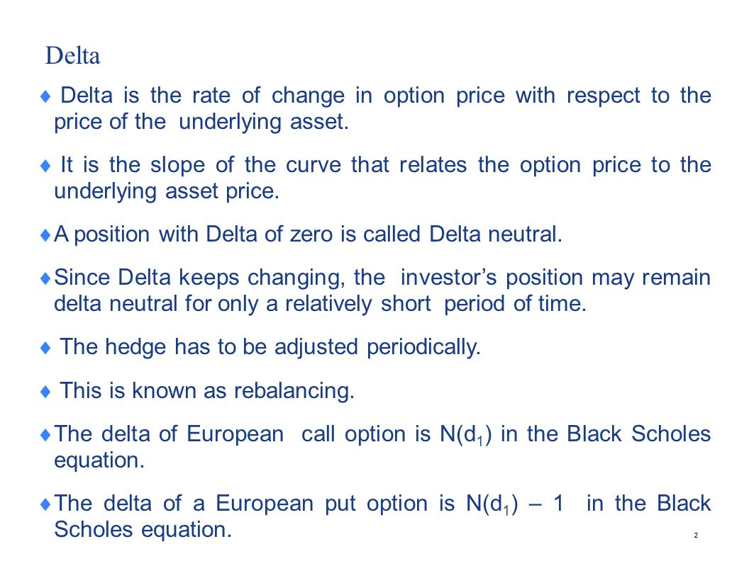 Gamma The gamma is the rate of change of the portfolio's delta with respect to the price of the underlying asset.