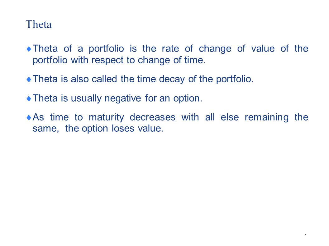 Vega Vega is the rate of change of the value of the portfolio with respect to the volatility of the underlying asset.