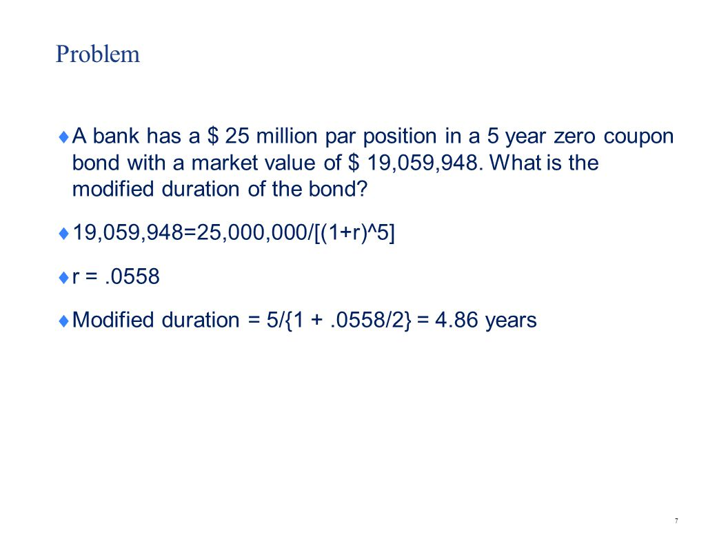 Problem An investor holds the following bonds in her portfolio. Calculate the duration.