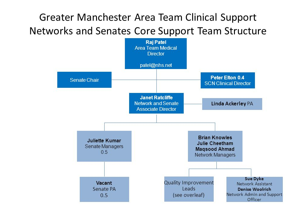 Greater Manchester Area Team Clinical Support Networks and Senates Core Support Team Structure