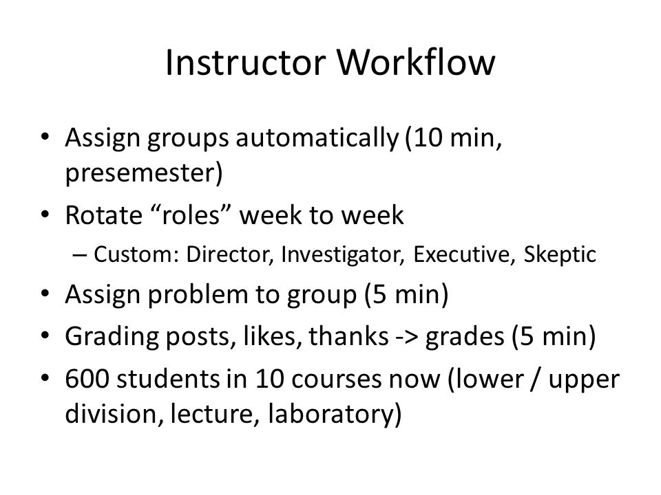 Instructor Workflow Assign groups automatically (10 min, presemester)