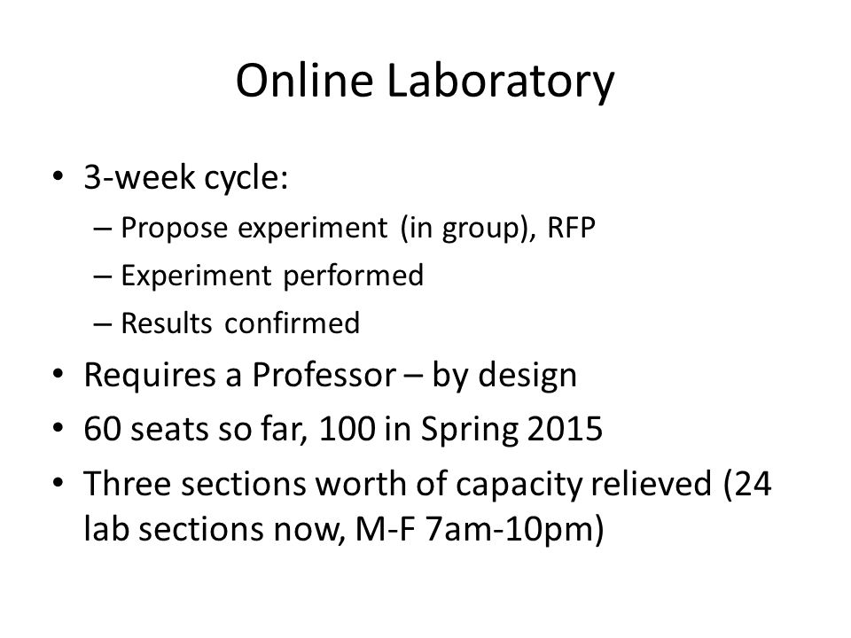 Online Laboratory 3-week cycle: Requires a Professor – by design