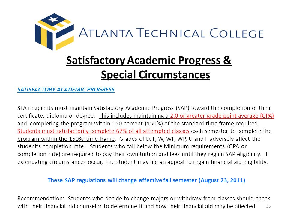 Satisfactory Academic Progress & Special Circumstances