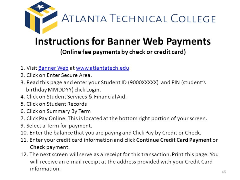 Instructions for Banner Web Payments (Online fee payments by check or credit card)