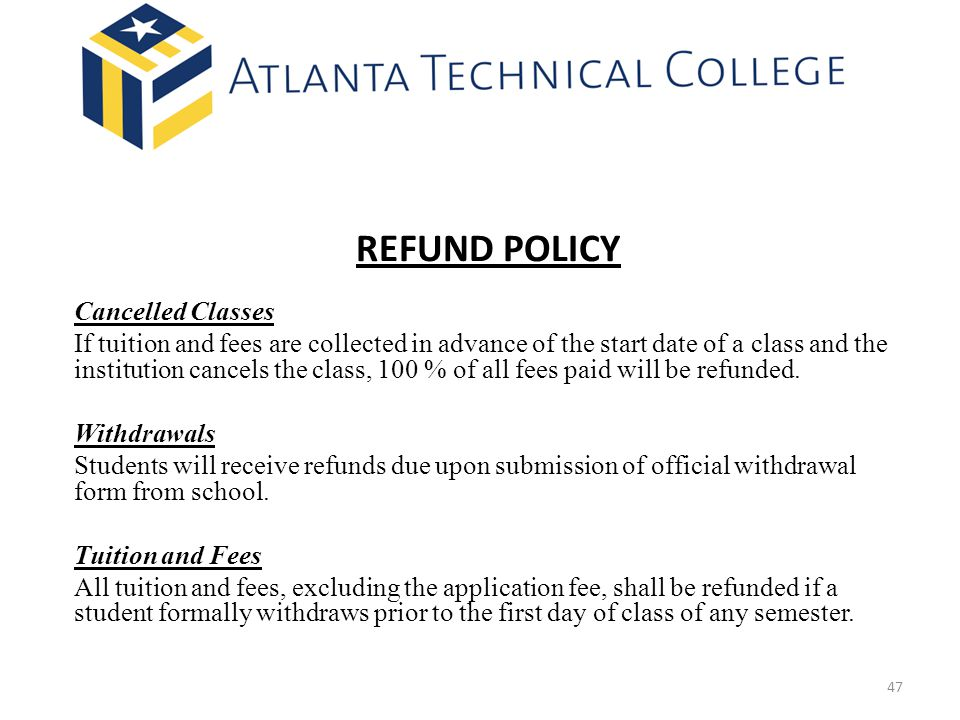 REFUND POLICY Cancelled Classes