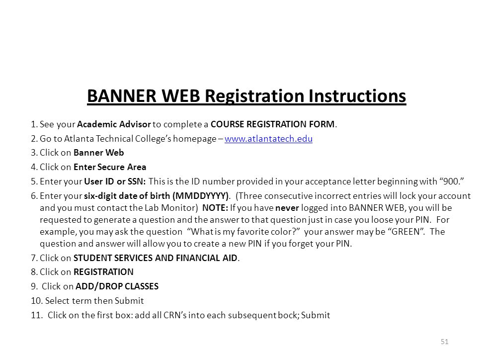 BANNER WEB Registration Instructions