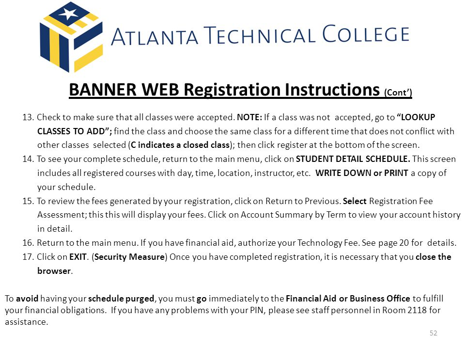 BANNER WEB Registration Instructions (Cont')