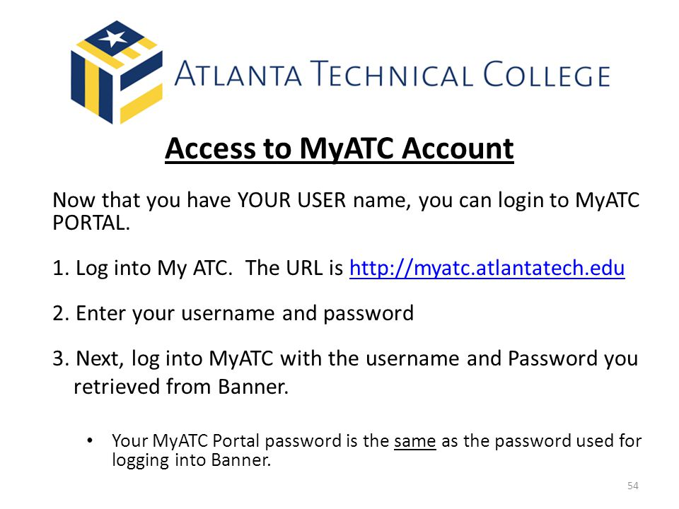 Access to MyATC Account
