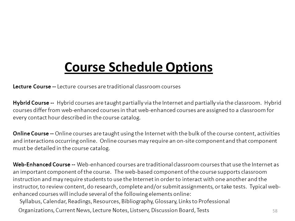 Course Schedule Options