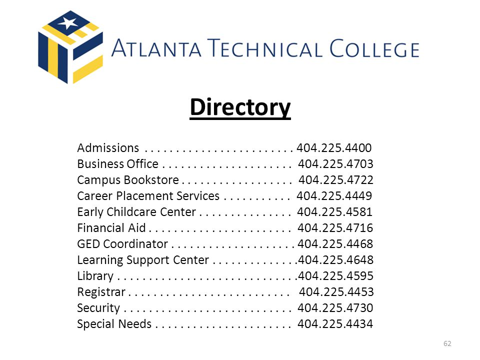 Directory Admissions . . . . . . . . . . . . . . . . . . . . . . . . 404.225.4400.