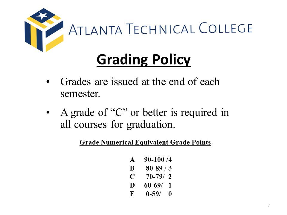Grading Policy Grades are issued at the end of each semester.