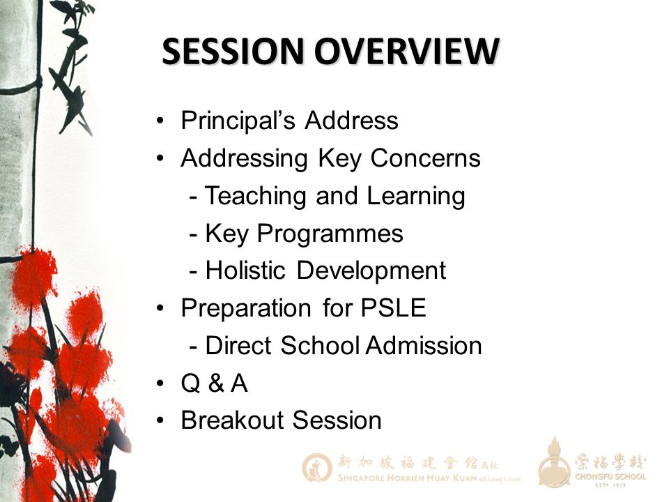 SESSION OVERVIEW Principal's Address Addressing Key Concerns