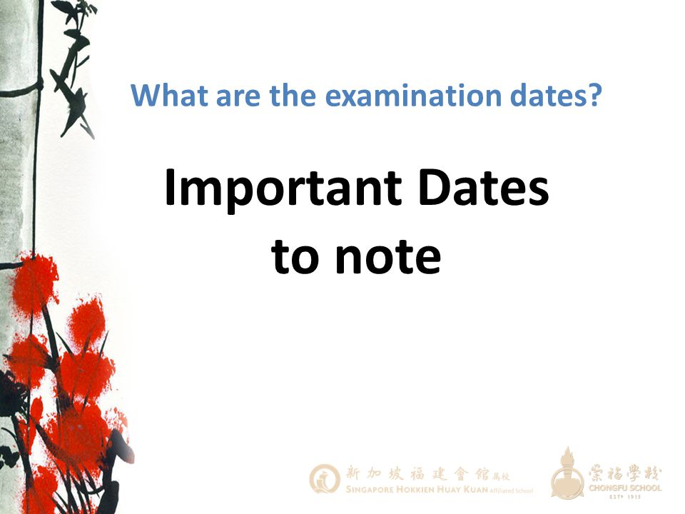 Important Dates to note
